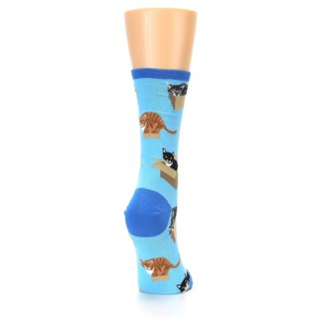Image of Blue Cats In a Box Women's Dress Socks (side-1-back-20)
