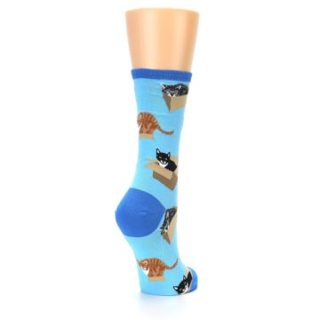 Image of Blue Cats In a Box Women's Dress Socks (side-1-back-21)