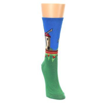 Image of Green Blue Dutch Windmill Women's Dress Socks (side-1-front-03)