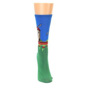 Image of Green Blue Dutch Windmill Women's Dress Socks (front-04)