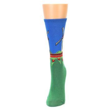 Image of Green Blue Dutch Windmill Women's Dress Socks (side-2-front-06)