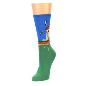 Image of Green Blue Dutch Windmill Women's Dress Socks (side-2-front-08)