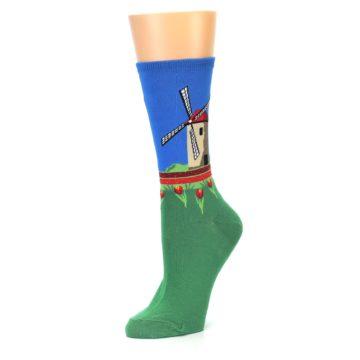 Image of Green Blue Dutch Windmill Women's Dress Socks (side-2-09)