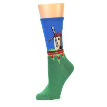 Image of Green Blue Dutch Windmill Women's Dress Socks (side-2-10)