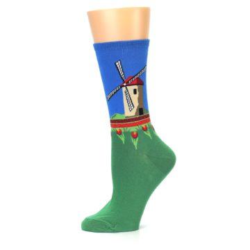 Image of Green Blue Dutch Windmill Women's Dress Socks (side-2-11)