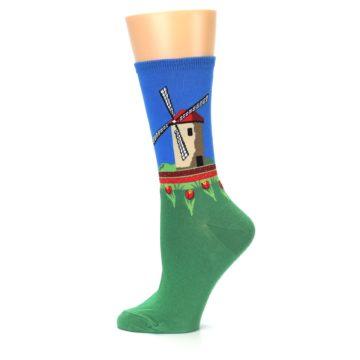 Image of Green Blue Dutch Windmill Women's Dress Socks (side-2-12)