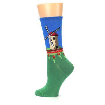 Image of Green Blue Dutch Windmill Women's Dress Socks (side-2-13)
