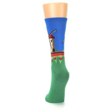 Image of Green Blue Dutch Windmill Women's Dress Socks (back-17)