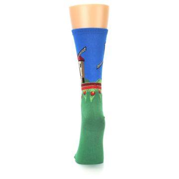Image of Green Blue Dutch Windmill Women's Dress Socks (back-18)