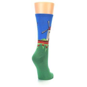 Image of Green Blue Dutch Windmill Women's Dress Socks (side-1-back-21)