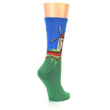 Image of Green Blue Dutch Windmill Women's Dress Socks (side-1-back-22)