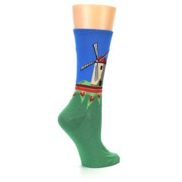 Image of Green Blue Dutch Windmill Women's Dress Socks (side-1-23)