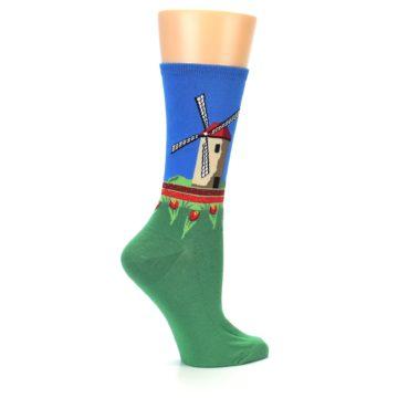 Image of Green Blue Dutch Windmill Women's Dress Socks (side-1-24)
