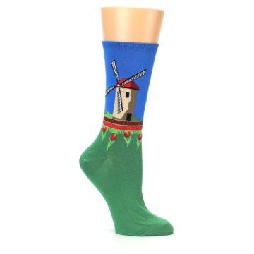 Image of Green Blue Dutch Windmill Women's Dress Socks (side-1-26)