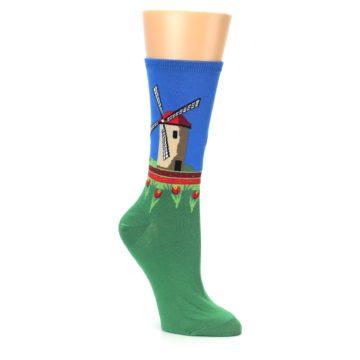 Image of Green Blue Dutch Windmill Women's Dress Socks (side-1-27)