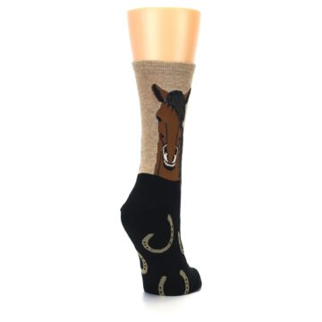 Image of Brown Black Horse Women's Dress Socks (side-1-back-21)