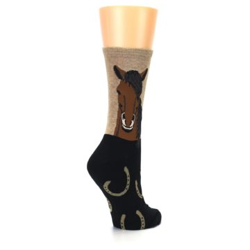 Image of Brown Black Horse Women's Dress Socks (side-1-back-22)