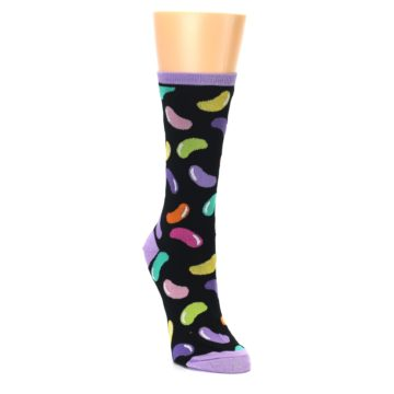Image of Black Jelly Beans Candy Women's Dress Socks (side-1-front-02)