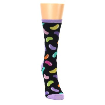 Image of Black Jelly Beans Candy Women's Dress Socks (side-1-front-03)