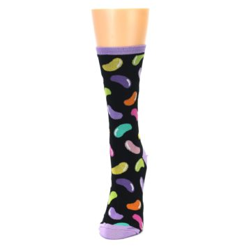 Image of Black Jelly Beans Candy Women's Dress Socks (side-2-front-06)