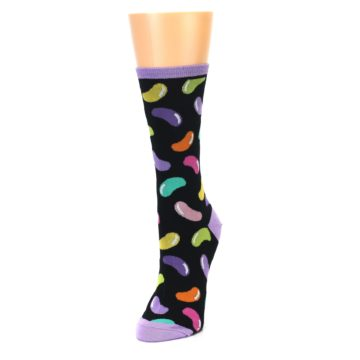 Image of Black Jelly Beans Candy Women's Dress Socks (side-2-front-07)