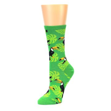 Image of Green Toucan Bird Women's Dress Socks (side-2-09)