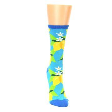 Image of Blue Yellow Lemons Women's Dress Socks (front-04)