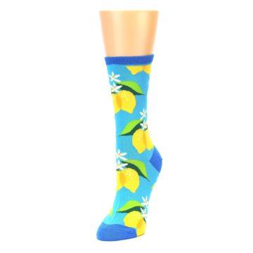 Image of Blue Yellow Lemons Women's Dress Socks (side-2-front-08)