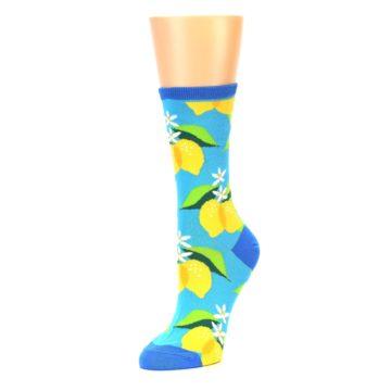 Image of Blue Yellow Lemons Women's Dress Socks (side-2-09)