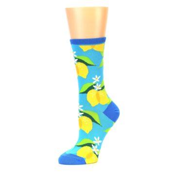 Image of Blue Yellow Lemons Women's Dress Socks (side-2-10)