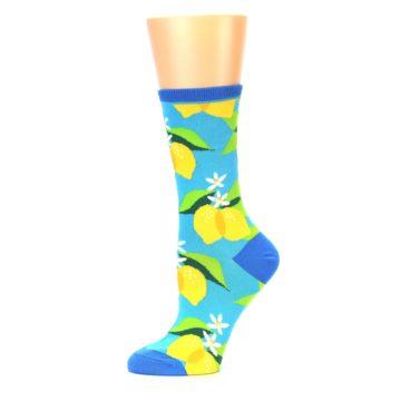 Image of Blue Yellow Lemons Women's Dress Socks (side-2-11)