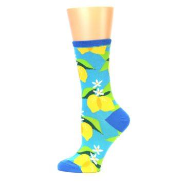 Image of Blue Yellow Lemons Women's Dress Socks (side-2-12)