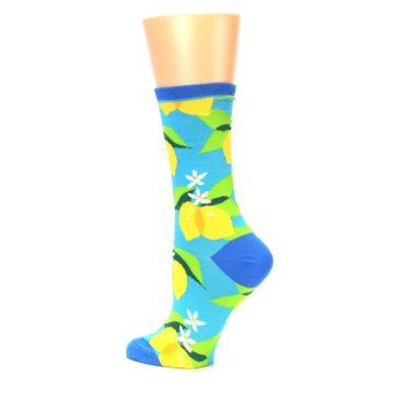 Image of Blue Yellow Lemons Women's Dress Socks (side-2-back-14)