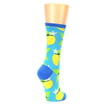 Image of Blue Yellow Lemons Women's Dress Socks (side-1-back-22)