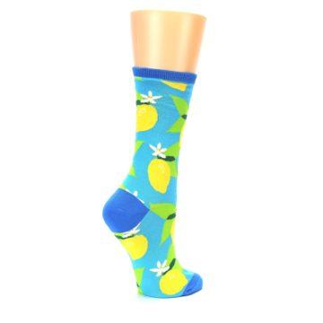 Image of Blue Yellow Lemons Women's Dress Socks (side-1-23)