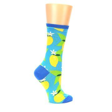 Image of Blue Yellow Lemons Women's Dress Socks (side-1-24)