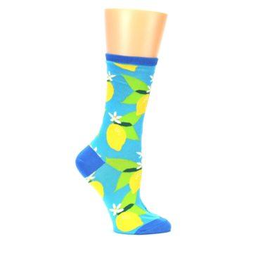 Image of Blue Yellow Lemons Women's Dress Socks (side-1-25)