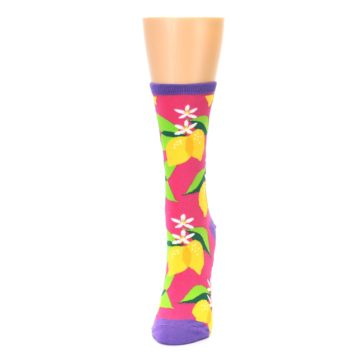 Image of Pink Yellow Lemons Women's Dress Socks (side-2-front-06)