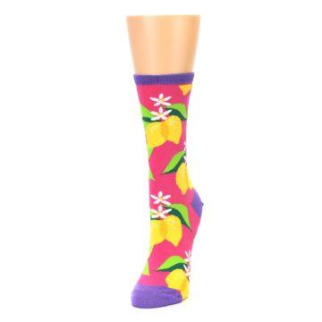 Image of Pink Yellow Lemons Women's Dress Socks (side-2-front-07)