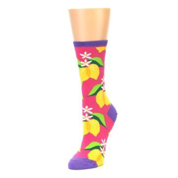 Image of Pink Yellow Lemons Women's Dress Socks (side-2-front-08)