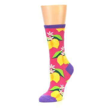 Image of Pink Yellow Lemons Women's Dress Socks (side-2-09)