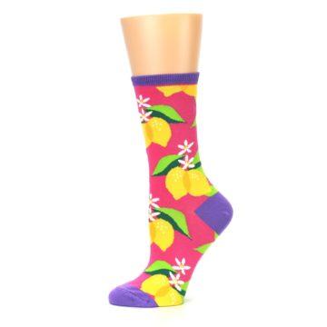 Image of Pink Yellow Lemons Women's Dress Socks (side-2-11)