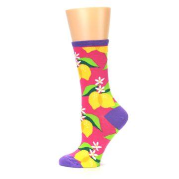 Image of Pink Yellow Lemons Women's Dress Socks (side-2-12)