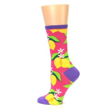 Image of Pink Yellow Lemons Women's Dress Socks (side-2-13)