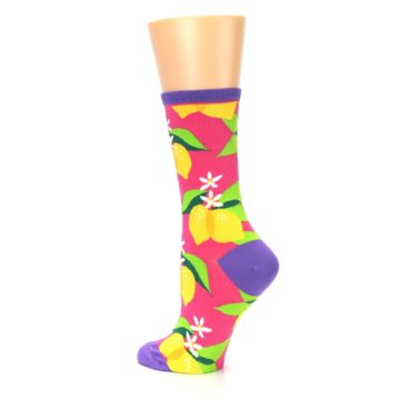 Image of Pink Yellow Lemons Women's Dress Socks (side-2-back-14)