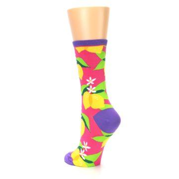 Image of Pink Yellow Lemons Women's Dress Socks (side-2-back-15)