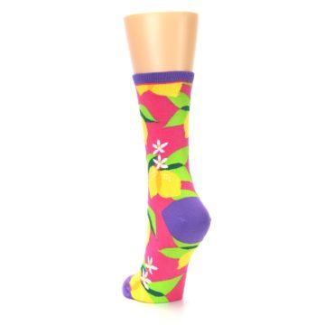 Image of Pink Yellow Lemons Women's Dress Socks (side-2-back-16)