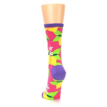 Image of Pink Yellow Lemons Women's Dress Socks (back-17)