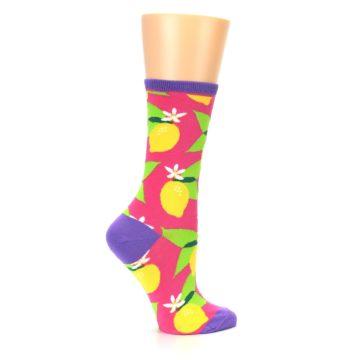 Image of Pink Yellow Lemons Women's Dress Socks (side-1-24)
