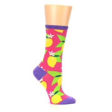 Image of Pink Yellow Lemons Women's Dress Socks (side-1-25)